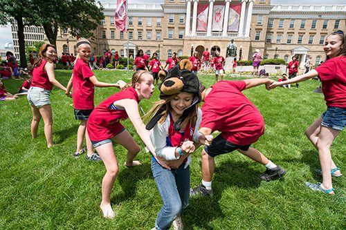 'College for Kids' Participants play Red Rover on the Bascom Hill