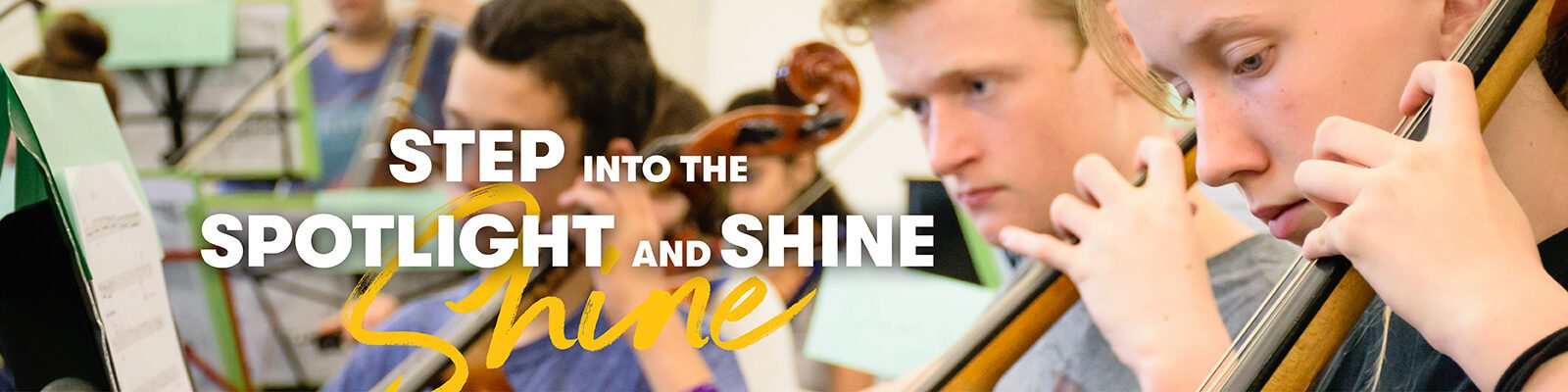 Summer Music Clinic participants practice string instruments: Step into the spotlight and shine
