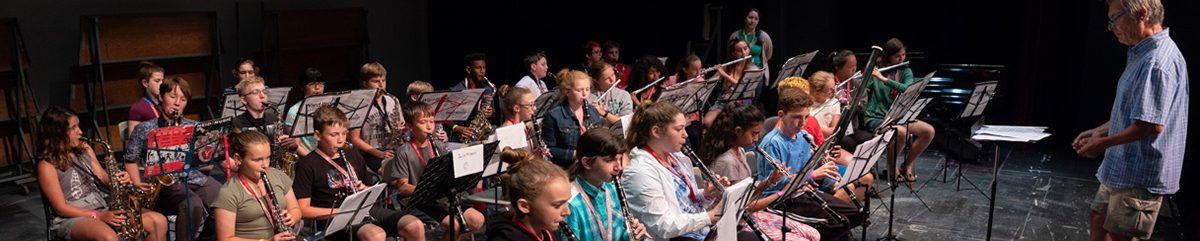 Summer Music Clinic students rehearse for a band concert
